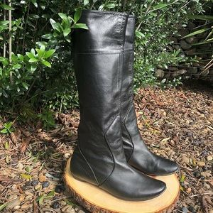 """All Black """"Elf"""" Knee High Leather Boots"""